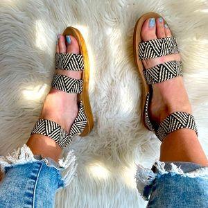 Aztec Tribal Woven Ankle Strap Sandals